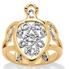 18k Gold-Plated Two-Tone Filigree Turtle Ring