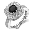 Classic Square Clear White Rhinestone With Black Stone Wedding Ring(7)