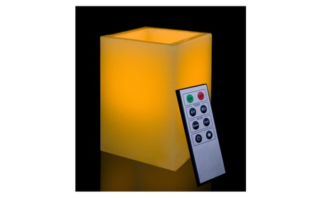 Square Smooth Edge Remote Controlled Flameless Wax Pillar Candle, 5 In da17bb1c-43db-4533-aa3a-670f3e7502b2