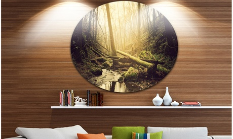 Stream in the Dark Wild Forest' Forest Metal Circle Wall Art c052e078-7a8a-42ef-8050-16206453240e