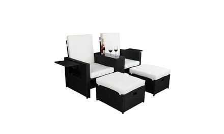 5 Piece Rattan Outdoor Conversation Set Patio Furniture Sofa PE