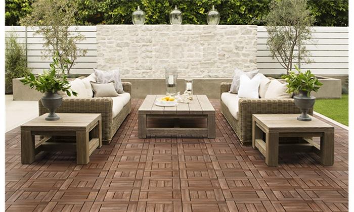 27pcs Deck Tiles Interlocking Wood