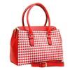 Red Houndstooth Top Handle Satchel Crossbody Handbag Vegan Women's