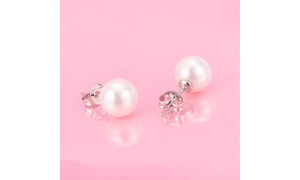 4.00 CTTW Sterling Silver Genuine Cultured Pearl Earring