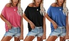 Women's Casual Off Shoulder Tops Short Sleeve T Shirts With Pocket