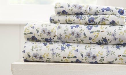 Merit Linens Premium Floral Inspired Ultra Soft 4 Piece Bed Sheet Set