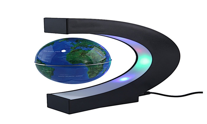 C shape magnetic levitation floating world map globe with led lights c shape magnetic levitation floating world map globe with led lights black blue gumiabroncs Images