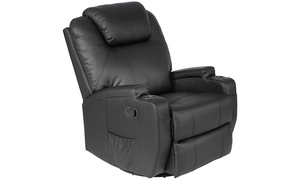 Electric Massage Recliner Sofa Chair Heated 360 Degree Swivel with Cup