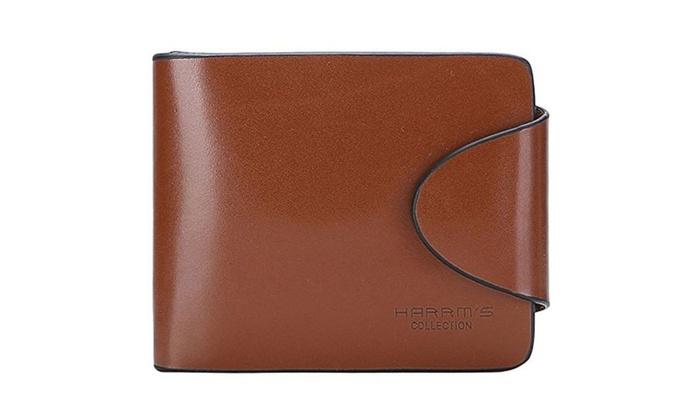 Harrm's Best Genuine Leather wallets,Tirfold/Zipper leather buckle Italian 100% Cattle - Coffee-Butt...