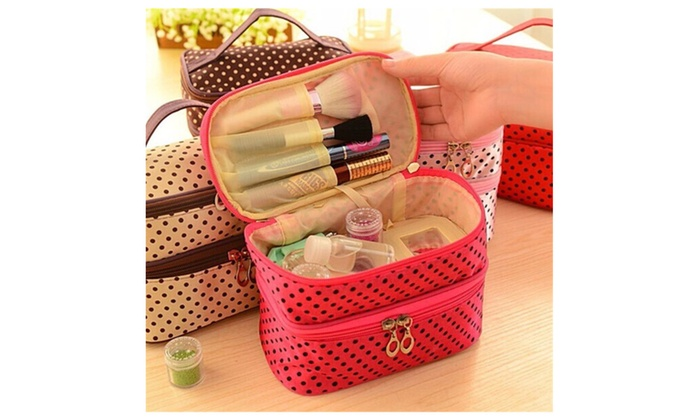 5b2040ea143a Portable Polyester Double Layer Makeup Cosmetic Toiletries Bag