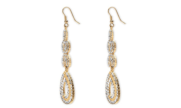 Crystal Chandelier Two Tone Earrings 18k Gold Plated Groupon