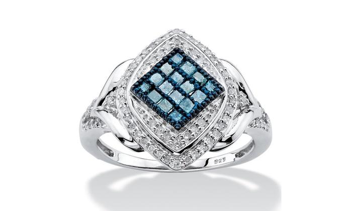 1 2 Tcw Enhanced Blue And White Diamond Ring Groupon