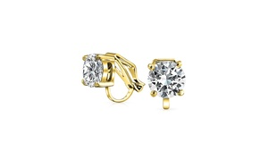 Clip On No Piercing Bridal CZ Stud earrings Gold Plated 8mm