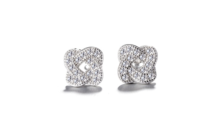 84ca12227d17b0 Sterling Silver Encrusted Knot Stud Earrings With Swarovski Crystals ...
