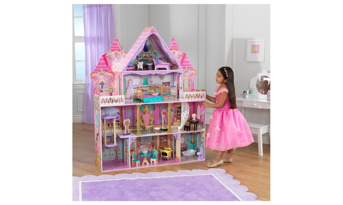 Wooden 4 Level Enchanted Princess Dollhouse W 20 Pcs