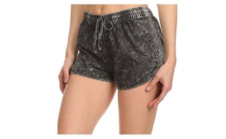 Juniors Acid Washed Denim Design Cotton Shorts with Drawstring Waist