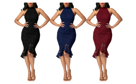 Women's Sexy Lace Halter Fishtail Bodycon Formal Cocktail Dress 41c19df5-9c50-46a9-aeaf-13beeadcc813