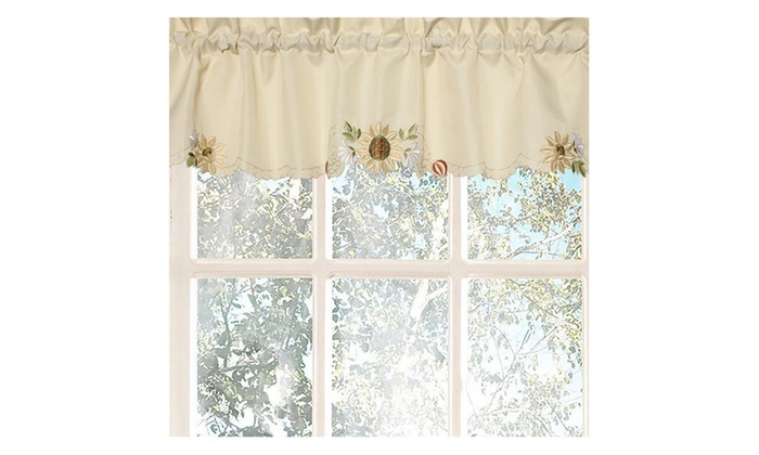 Sunflower Cream Embroidered Kitchen Curtains   12 X 54 Valance