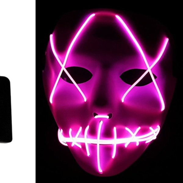 Halloween Scary Mask Cosplay Led Light Up Costume Mask The Purge Movie 2019 dnk