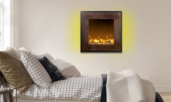 Electric LED No Heat Wall Fireplace with Timer and Remote