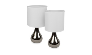 """Intellibrands 14"""" Teardrop Style Table Lamp & Shade, Matte Silver or Gloss Black"""
