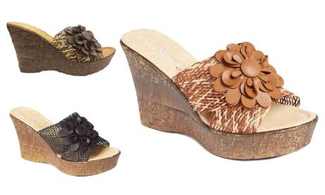 Flower Mesh Sky-High Wedge Sandals