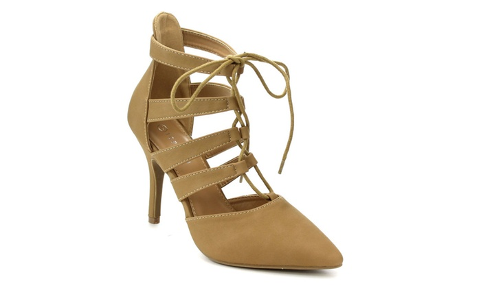 Beston CC33 Pointed Toe D'orsay Lace Up Ankle Strap Pumps