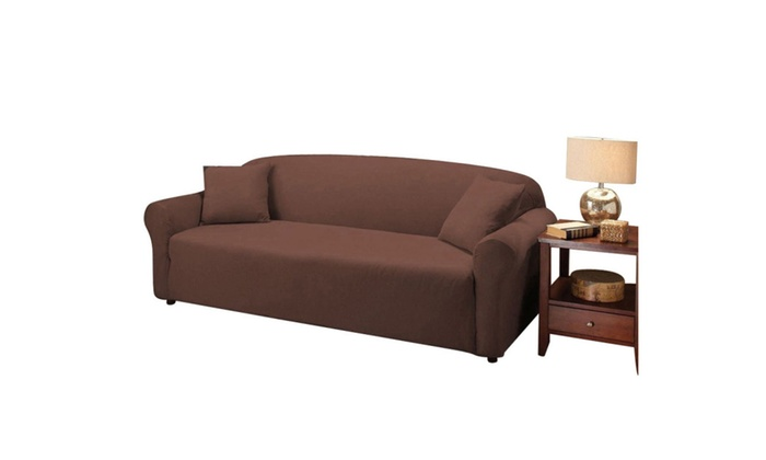 Stretch Slipcover 3 Seat Sofa Cover Chocolate