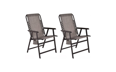 Set Of Two Folding Outdoor Arm Chair Steel Frame W/ Cup Holder Gray 2d11a823-7d7a-4141-83d6-857ef4078476