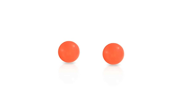 Bling Jewelry Round Dyed Orange Stud earrings 925 Sterling Silver 6mm nHruvTi6vb