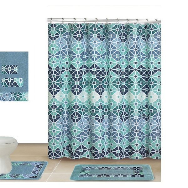 Deila 18 Piece Shower curtain set with Geometric design Made of 100/% polyester.