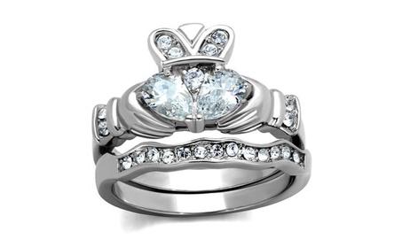 Women's Stainless Steel Irish Claddagh Zirconia Wedding Ring Band Set 9f8433be-3987-4c35-af97-f91c8b0b914a