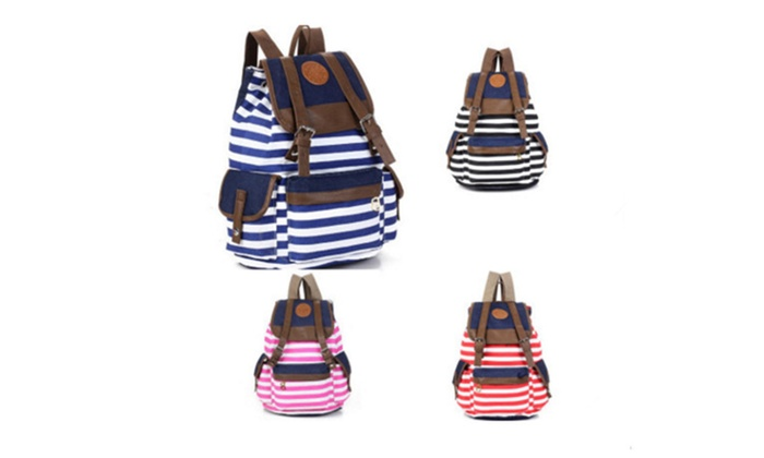 Unisex Classic Stripes Pattern Canvas Backpack