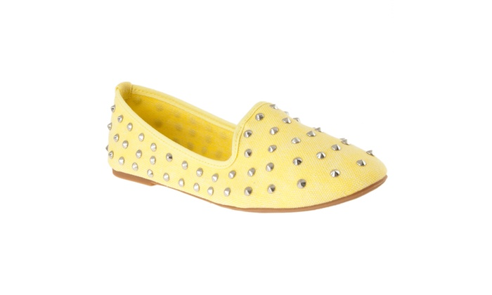 Riverberry Women's 'Kiwi' Studded Canvas Shoes, Yellow
