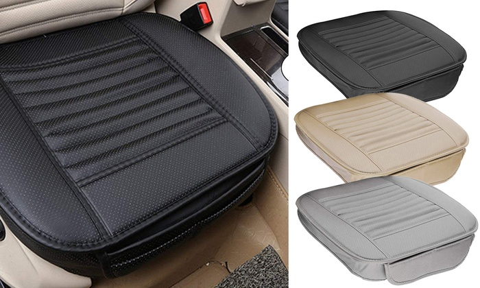 Car Front Seats Cover Bamboo Charcoal Cushion Breathable Pad PU Leather Mat