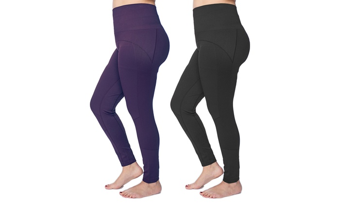 48671597a793da Women's Plus-Size 2 Pack Seamless Stylish Slimming Control Top Leggings