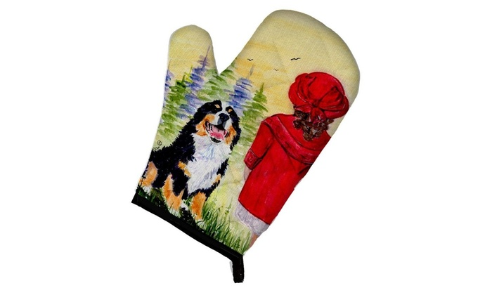 12 by 8.5 Multicolor Carolines Treasures SS8531OVMT Little Girl with Her Bernese Mountain Dog Oven Mitt