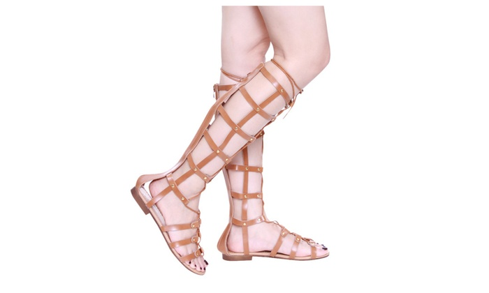 Beston GB33 Women's Knee High Lace Up Gladiator Flat Sandals