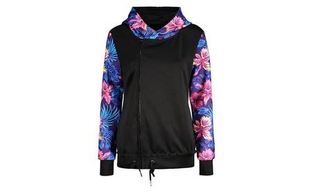 Womens Loose Splice Long Sleeve Hoodie Print Zip Up Jackets 07f4011d-1e03-4508-ac86-d2b3cf4fe0ca