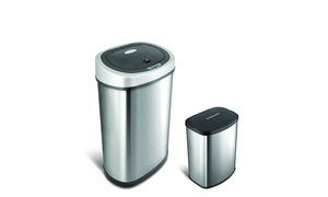 Nine Stars Stainless Steel Motion Sensor Trash Can Set (2-Piece)
