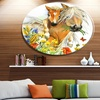 Horse and Foal with Flowers' Ultra Glossy Animal Oversized Metal Circle Wall Art
