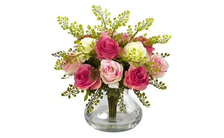 Nearly Natural Rose & Maiden Hair Arrangement With Vase b8261f0c-0f90-4efe-8f90-8b64854d8971