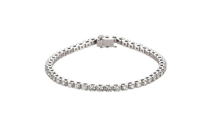 14k White Gold 3 8 Carat Genuine Diamond Line Bracelet Mounting