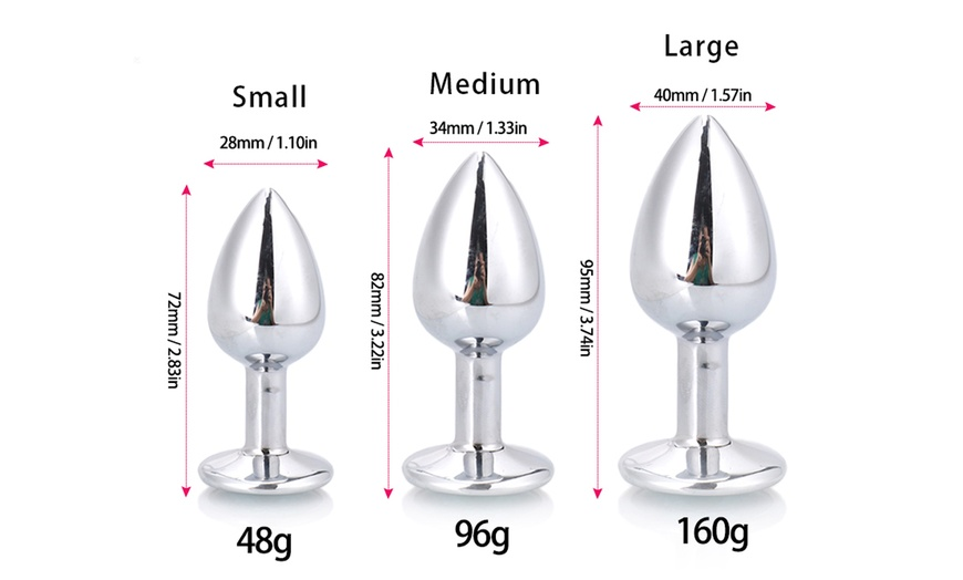 Details about  /Stainless Steel Plug Plated Jeweled Stopper Heavy Metal Insert Plug 3 SIZE