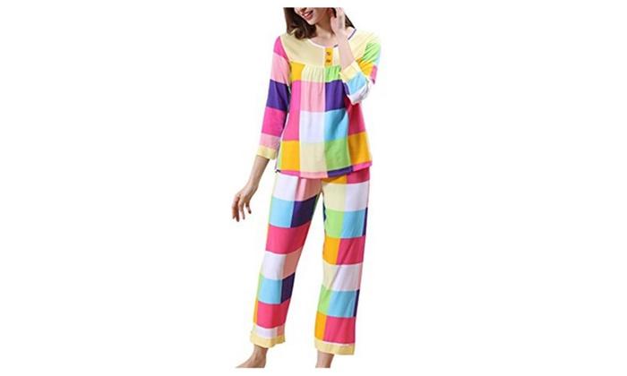 Women's Color Lattice Nightwear Set Long Sleeve Pajamas Two Pieces