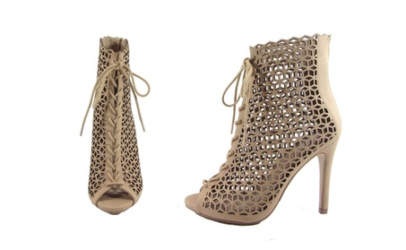 Punched out Peep Toe Bootie w/ Lace & Heel f353791f-b2fa-4aae-8ca2-9de231947537
