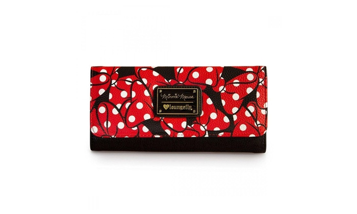 Womens Disney Minnie Mouse Bows Print Faux Leather Tri-fold Wallet
