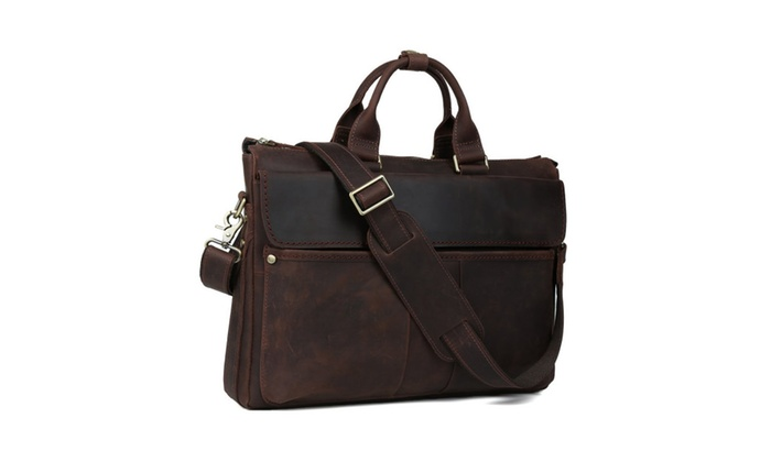 Men's Leather Briefcase Messenger Tote Bag – Brown