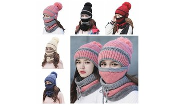 3pcs Fashion Women Winter Beanies Knitted Hat With Warm Mask And Neck Scarf