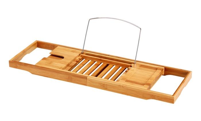 Ollieroo Adjustable Natural Bamboo Bathtub Caddy Holder Stand   Groupon